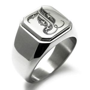 Stainless Steel Monogram Royal Initial I Mens Square Biker Style Signet Ring