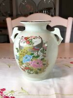 Vintage Japan Satsuma Double Handled Peacock and Floral Vase, w/Gold Accents