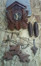 Vintage Black Forest 8 Day Cuckoo Clock Carved 3 Birds Red Eyes W. Germany