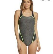 NWOT Speedo Women's Quantum Splice One Piece Swimsuit Gray Neón Green Sz 14