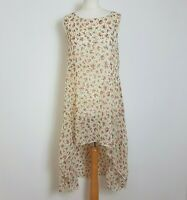 Tenki Assymetric Dress Size M/L UK 14-16 Cream Floral Long Back Floaty Flared