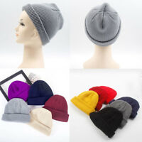 Unisex Hip Hop Beanie Hat Warm Ribbed Winter Turn Ski Fisherman Docker Hat A+