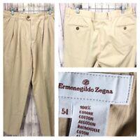 Ermenegildo Zegna Men's Beige Pleated 100% Cotton Pants Size 36 x 36 - Italy