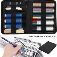 51 Pcs Professional Artist Pencils Set Drawing Sketching Colouring Art Kit Adult