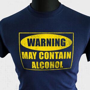 Warning May Contain Alcohol T Shirt Funny Joke Humorous Tee Gift Present Blue