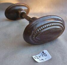 "Door Knob (set/pair) Antique oval iron old patina 2 1/2"" x 1 9/16"" (per pair)"