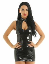 Sexy Women Leather Bodycon Short Mini Dress Wet Look Floral Lace Club Wear Skirt