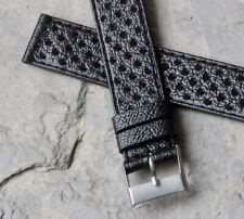 Black perforated 16mm rally band vintage watch strap 1960/70s NOS racing band