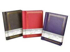"""Leather Effect Photo Album 36 Sheets 72 Self Adhesive Pages 8x11"""" Black Blue Red"""