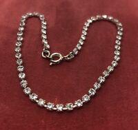"Vintage Bracelet 9"" Silver Tone Anklet Rhinestone"