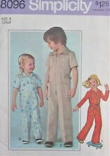 VTG 70s Simplicity 8096 Little Boys or Girls Sz 4 Retro JUMPSUIT Overall Pattern