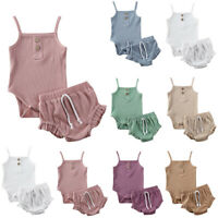 Newborn Infant Baby Girl Strap Solid Romper Tops Shorts Pants Summer Outfits