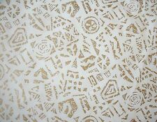 New Vintage Magnolia Mill Abstract Metallic Gold Print 100% Polyester Fabric BTY
