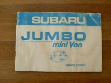 SUBARU JUMBO MINI VAN HANDLEIDING OWNER'S MANUAL 1983 CAR AUTO