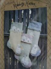 Rabbits Haven Sewing Applique PATTERN My Christmas Stocking -18 inches- Snowmen