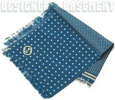 GUCCI silk Teal blue with Ivory DOTS Fringed GG LOGO Pocket Square NWT Authentic