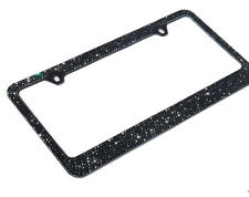 JR2 Bling 7 Rows Black Diamond Crystal METAL License Plate Frame/Free Cap