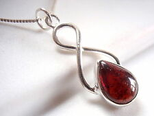 Garnet Pendant 925 Sterling Silver w/ Infinity Hoop Signifies Eternal Love