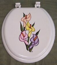 Hand Painted Calla Lily Toilet Seat/Elongated By Mb