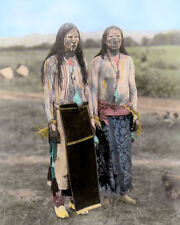 "CHEYENNE SUN DANCERS NATIVE AMERICAN INDIAN 1910 8x10"" HAND COLOR TINTED PHOTO"