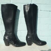 BRONX Leather Boots Size UK 6 Eur 39 Womens Ladies Sexy Black Boots