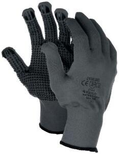 1 - 12 Pairs Polyco Matrix D Grip Grey PVC Dot Grip Palm Safety Work Gloves