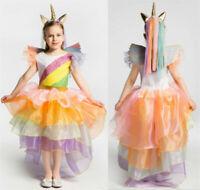 Unicorn Tutu Girls Dress Rainbow Fairy Princess Dress Halloween Cosplay Costume