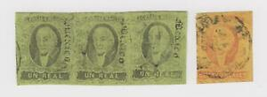 Mexico Used #36 Strip of Three and #38