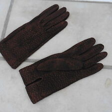 NWOT, Pigskin Tobacco Brown Suede Leather Gloves, S, Made in Italy