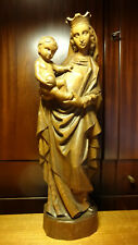 """✞ 21"""" ANTIQUE HAND CARVED WOODEN OUR LADY MARY MADONNA + JESUS STATUE FIGURINE ✞"""