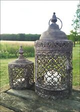 Set of 2 Vintage Moroccan Lantern Candle Holder Moorish Garden Antique Tea Light