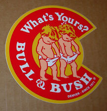 "BULL & BUSH BREWERY promo 4"" LOGO STICKER decal craft beer brewing and DENVER"