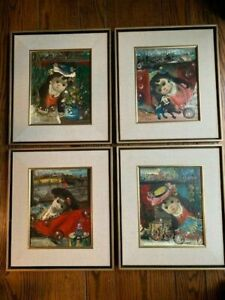 Jean Calogero Italian American Set of 4 Framed Oil Paintings with Artist Book