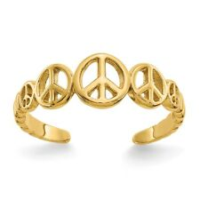 14K Yellow Gold Solid & Polished Peace Sign Toe Ring 0.92 - 1.05 Gms
