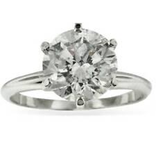 3ct Round Enhanced Diamond Solitaire Engagement Ring 14K White Gold