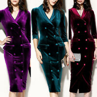 Winter Womens Velvet Bodycon Dress Long Sleeve Sexy V Neck OL Party Midi Dress