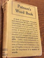 PUTNAM'S WORD BOOK by G. P. Putnam's Sons - 1919 2nd EDITION W/ Rare Dust Cover!