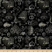 I Do Hearts & Keys Black Quilting Treasures 100% cotton fabric by the yard