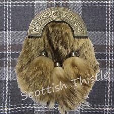 ST Scottish Full Dress Leather Kilt Sporran Formal Fox Fur Celtic Cantel Antique