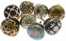8 x Mixed Vintage Style Shabby Chic Ceramic & Brass Cupboard Kitchen Door Knobs