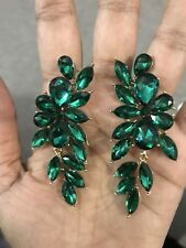 "2.75"" Green Emerald Gold Long Crystal Pageant Bridal Earrings Formal Rhinestone"