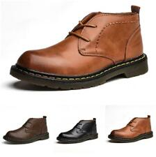 Men's Leather Shoes Retro Lace up Oxfords Flats Outdoor Non-slip Round Toe  DD