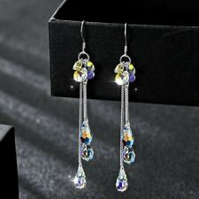 Crystal Long Tassel Mermaid Tears Earrings Hook Drop Dangle Charm Women Fashion