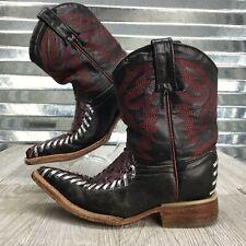 Artillero Handmade leather Cowboy Boots Burgundy Black Texture Toddler Size 8.5C