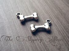 10 Dog Bone Charms Antiqued Silver 2 Sided Bones Dog Charms Pendants