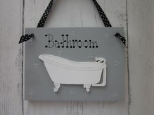 BATHROOM SIGN PLAQUE Roll Top Bath in a Heritage style Grey Paint Victorian