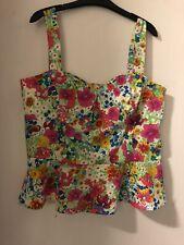 Love Label Garden Floral Print Peplum Bustier Style Top Size 18