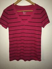 GAP T Shirt Top Size S Pink & Black Stripe V Neck <R7317