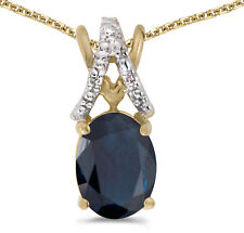 14k Yellow Gold Oval Sapphire and Diamond Pendant (no chain) (CM-P2620X-09)