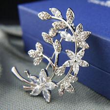 18k white Gold GF with Swarovski crystals leaf filigree brooch pin